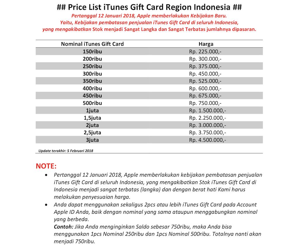 Itunes Gift Card Region Indonesia Rp 800 000 Spec Dan Daftar Harga Tukang